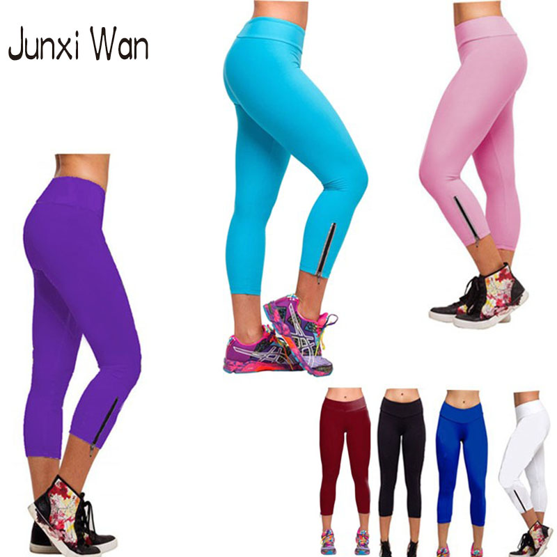 Wholesale Leggings Knit - 2016 Summer Fashion New Candy Color Women Sport Yoga Pants Capri solid High Waist Zipper Calf Length Gym Fitness Leggings WA0062