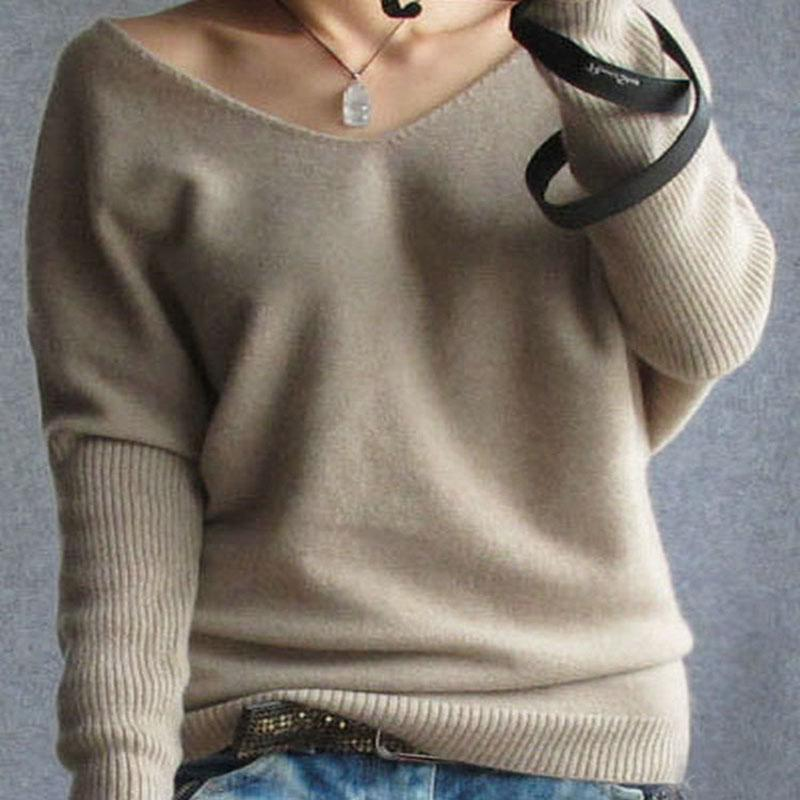 Wholesale Plus Sexy Black Sweater - Plus Size 4XL Autumn Winter Cashmere Sweater Women Fashion Sexy V-neck Sweater Loose 100% Wool Sweater pullover