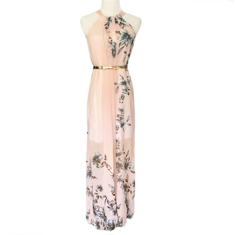 9cc4134bffd4 With Belt Sexy Women Chiffon Dress Floral Print O Neck Sleeveless Party  Beach Boho Long Maxi