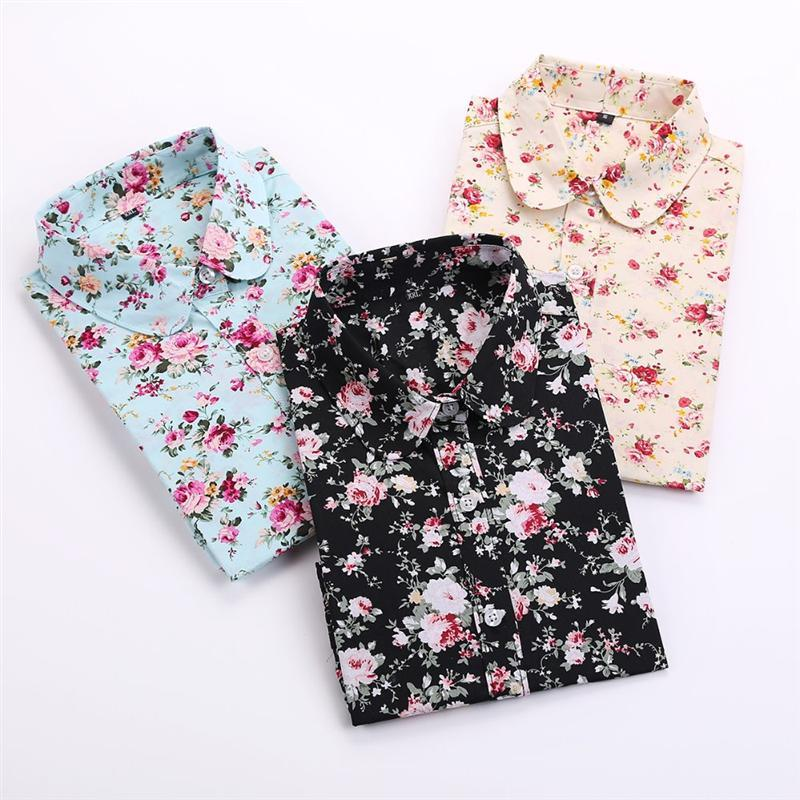 d23337bfb Brand Floral Blouses Cotton Shirts Women Vintage Turn-Down Collar Tops  Blusas Ladies