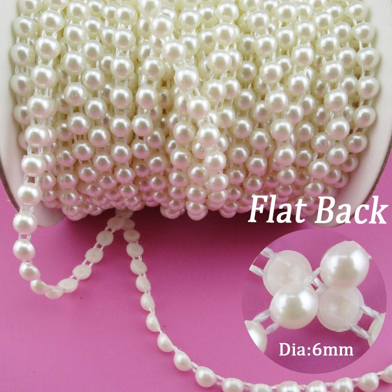 Wholesale Pearl Flatback Roll - Wholesale-6mm Pearl 25m roll New Craft Beads Pearls Sew On Perolas Para Artesanato 5 Color ABS Half Round Flatback Trim For Bride Dress
