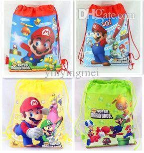 Wholesale Mario Party Bags - Wholesale-Super Mario Bros Children Cartoon Drawstring Backpack Kids School Bags Mixed 4 Models 34*27cm Kids Best Birthday Party Gifts