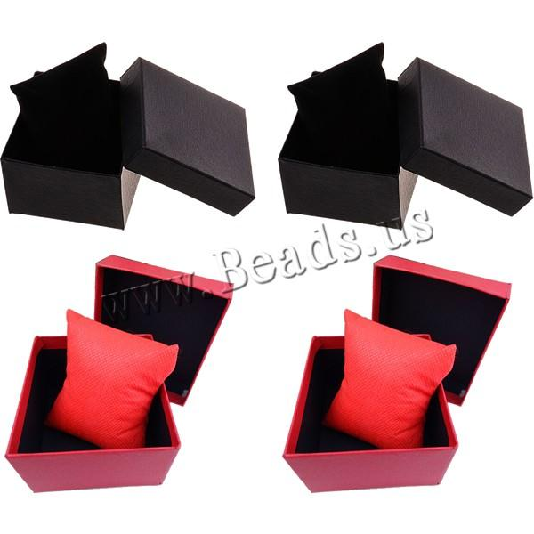 Wholesale Paper Bangle - Wholesale-1PC Classic Red Black Wrist Watch Bangle Bracelets Paper Cardboard Storage Winder Display Box Case Convenience High Quality NEW