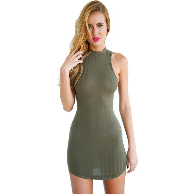 Wholesale Club Strips - New S-L Womens Olive Green Stripped Hatler Bodycon Dress Mini Club Dress