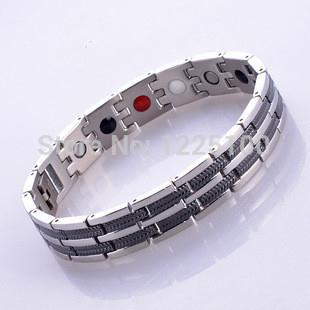 Wholesale Free Negative Ion Bracelet - Wholesale-Free shipping!stainless steel infrared ray negative ion magnetic germanium energy health bracelet with 4 in 1 bio benifits