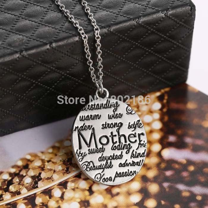 Wholesale Wholesale Vintage Stamping Jewelry - Wholesale-2015 Fashion Mother Circle Gift Vintage Silver Engraved Letters Pendants Charms Personalized Necklaces Hand Stamped Jewelry