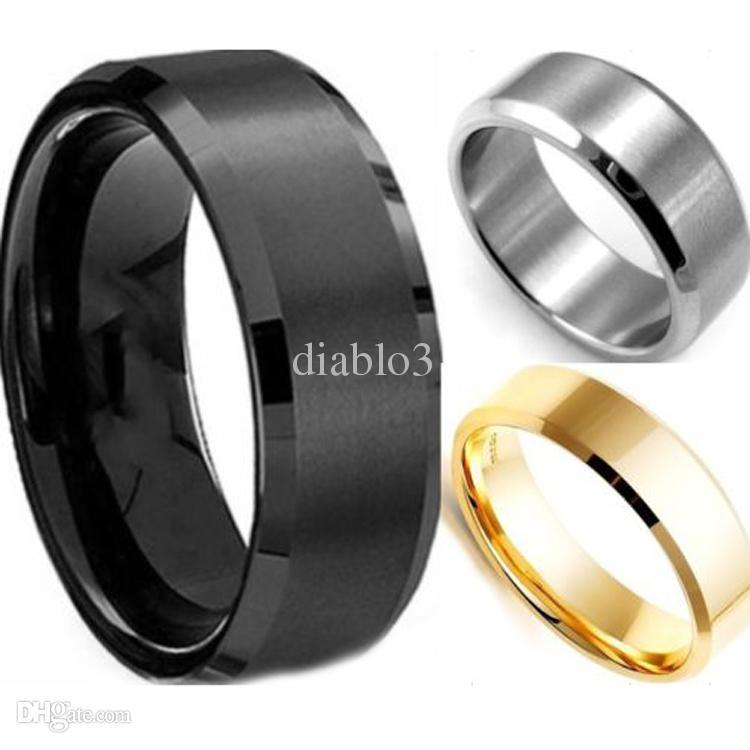 Wholesale Cool Male Gold Rings - Wholesale-Cool Simple Men Ring Black Gold Silver 3 Colors Stainless Steel Male Finger Ring Party Wedding Fashion Jewelry RING-0079