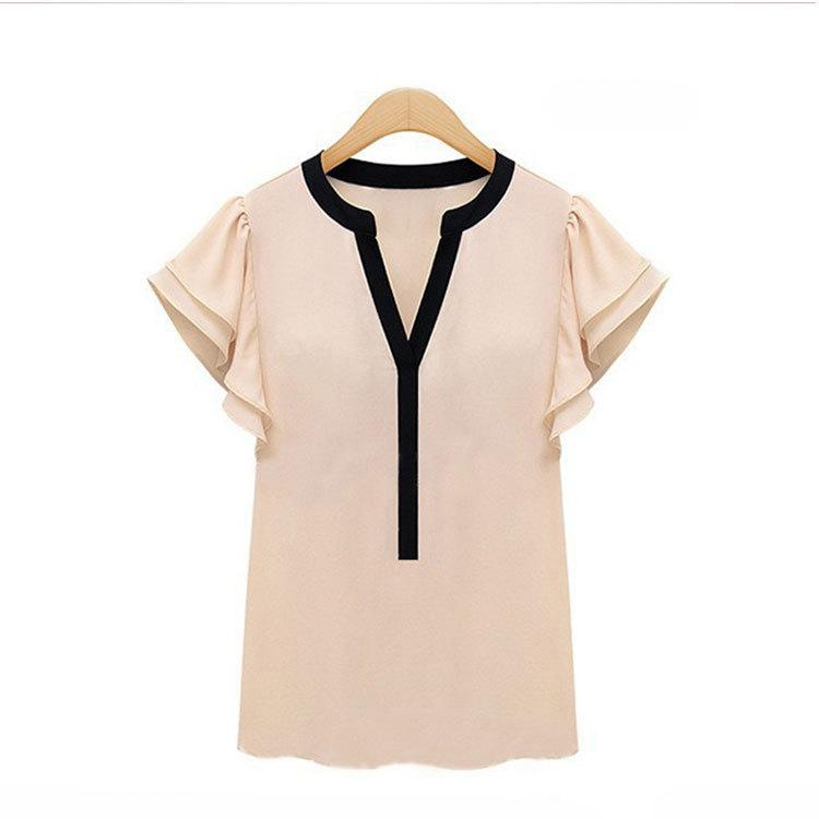 Wholesale Ladies Tops Frills - 2016 Elegant Women Blouses Frill Sleeve Chiffon Short Sleeve Shirts Plus Size Woman Vestido Female Tops Clothing Ladies Clothes
