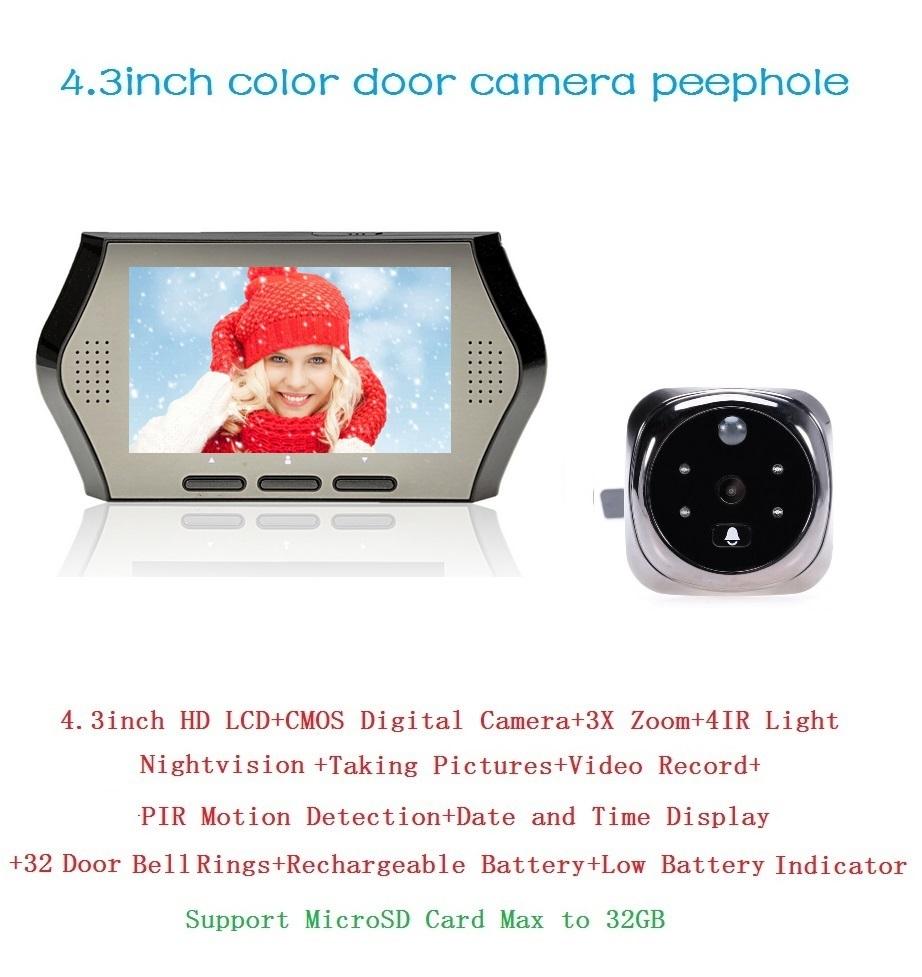 Russian videoglazok door camera eye PIR motion detection 4.3inch IR night vision 32 Rings 3X Zoom Multi-language