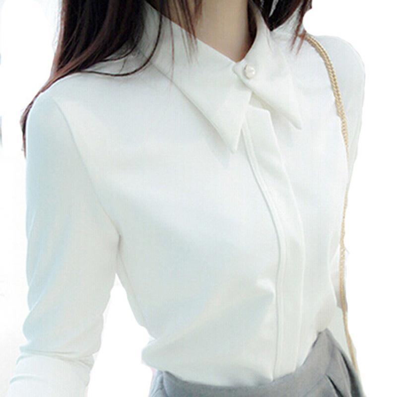 Wholesale Korean Formal Woman Shirt - 2016 Korean Shirt Cotton Blusas Women White Black Blouses Elegant undershirt Clothes shirts long sleeves turndown collar with button