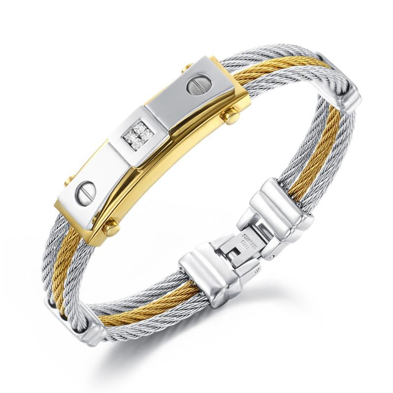 Wholesale Gold Id Bracelets For Men - Wholesale-Luxury 316L Stainless Steel Men Bracelet Gold Silver Multilayer Rope Jewelry Best Gift For Father's Day pulseira