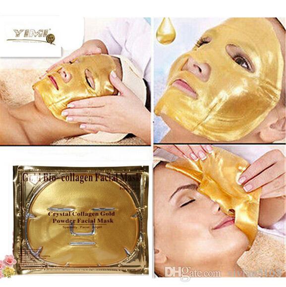 Altın Bio-Kolajen Yüz Maskesi Yüz Maskesi Kristal Altın Tozu Kollajen Yüz Maskesi Nemlendirici Anti-aging Beyazlatma Altın Yüz Maskeleri hediyeler