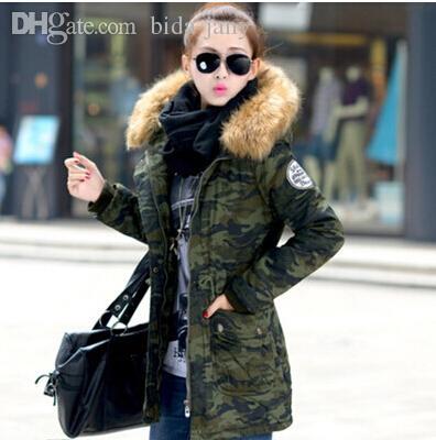 Groothandel-Nieuwe 2015 Dames Winterjas Wadded Jas Medium-Long Plus Size 4XL Parka Bont Kraag Dikke Hood Abrigos Vrouwelijke Sneeuwkleding