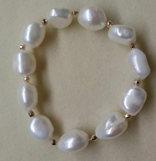 Wholesale Hot Ms. 11-12mm white Baroque large particles profiled natural pearl bracelet 134