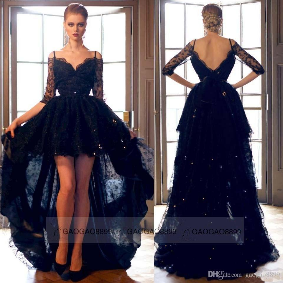 Sexy Black Lace Hi Lo Formal Evening Prom Dresses Off Shoulder Backless Long Sleeve Plus Size Celebrity Party Gowns Arabic Custom 2019