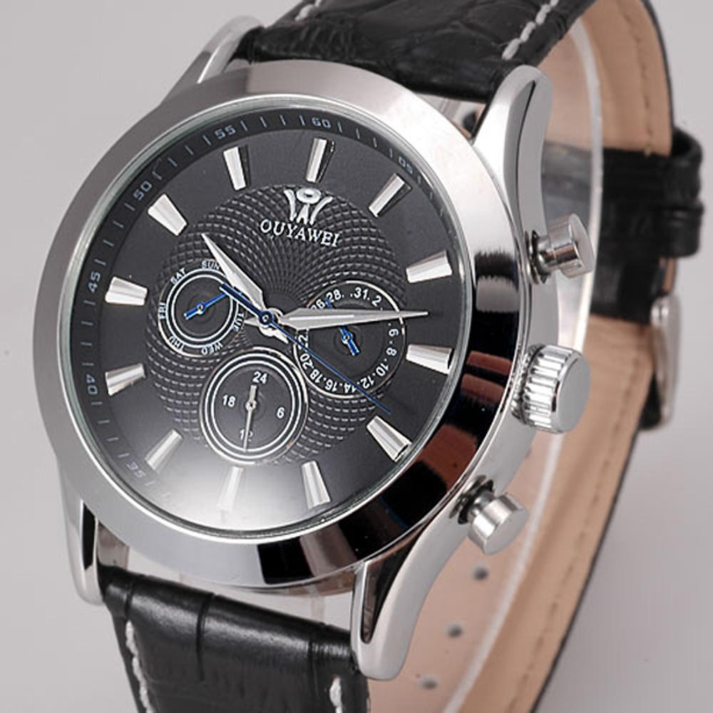 Elegant Mens Automatic Watches Black Dial Self winding Mechanical Automatic Genuine Leather Band Wristwatch