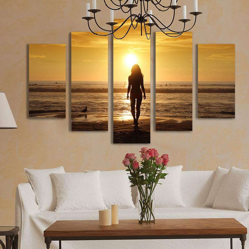 Unframed 5 Piece Sunset Seascape Painting Top-rated Canvas Print Painting for Living Room Wall Art Picture Gift Decoration Home Hot Sale