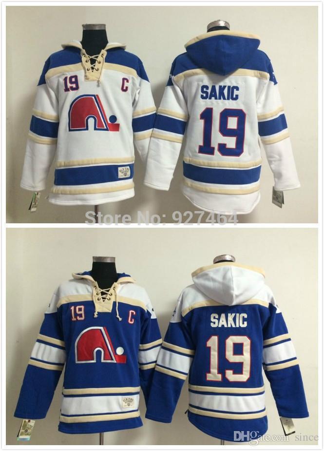 2016 NIEUW, 2015 Goedkope Stitched Hartford Whalers Ice Hockey Hoodie # 19 Sakic Jersey Hockey Hoodies Sweatshirts met Grootte: M-XXL