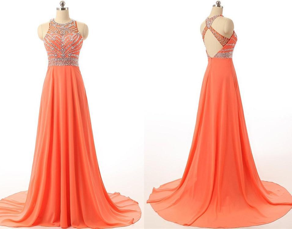 Великолепная бисером вечерние платья Jewel шеи без рукавов линии развертки поезд Vestidos де Фест сексуальные платья выпускного вечера