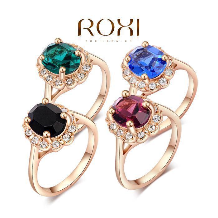 015 ROXI marca nero / blu / verde / viola grandi anelli di cristallo per le donne placcato in oro 18 k gioielli di moda anello nichel libero 2010012325