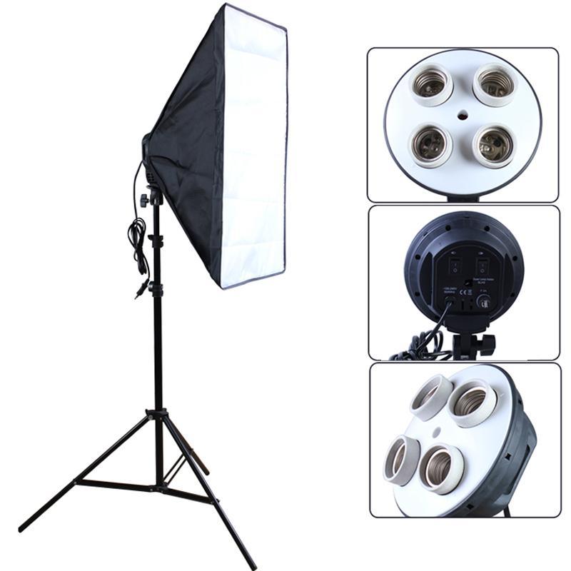 Freeshipping Fotografie Diffusor Fotostudio-Zubehör 100-240V vier Sockel Lampenfassung mit 50 * 70cm Softbox schließen hellen Standplatz ein