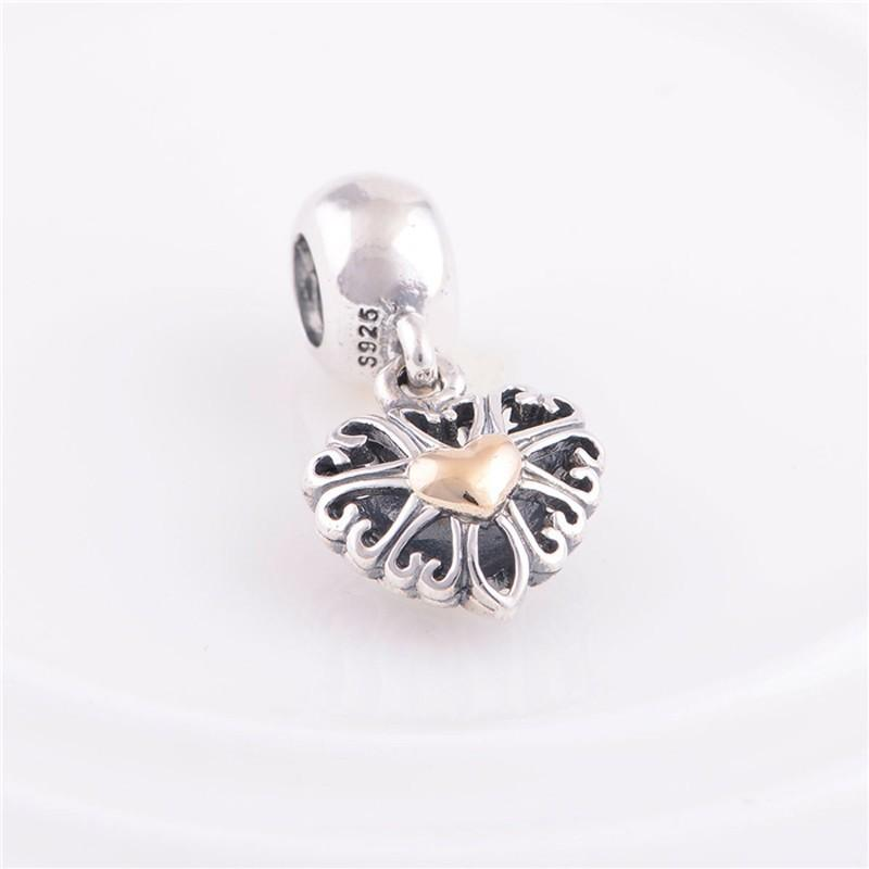 Fits Pandora Charms Bracelet Authentic 925 Sterling Silver Bead 14k Gold Plated Heart European Charm Women DIY Jewelry