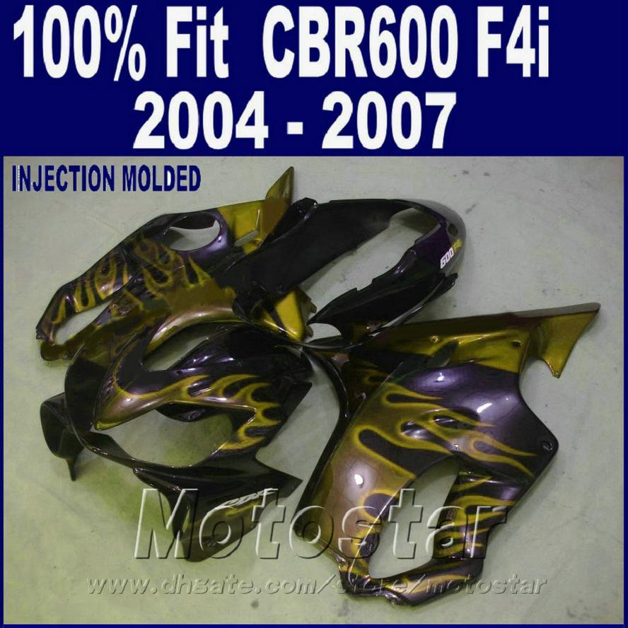 HONDA CBR 600 F4i kaportalar için enjeksiyon kaporta kiti 2004 2005 2006 2007 sarı alev bodykits cbr600 f4i 04 05 06 07 HDFR