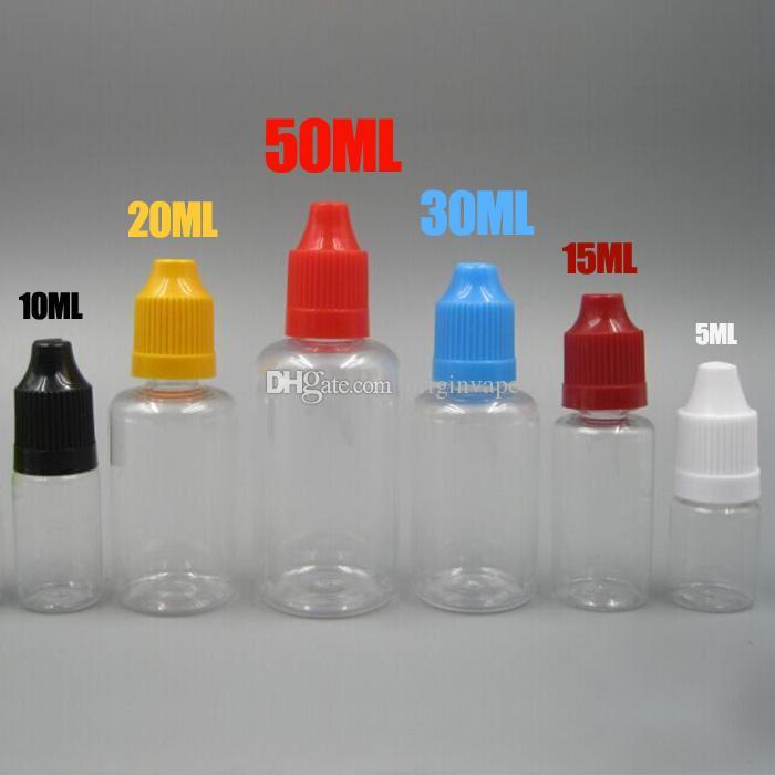 PET Plastic Eliquid Bottle Needle Bottle Childproof Cap 5ml 10ml 15ml 20ml 30ml 50ml Dripping Bottles DHL Free Shipping