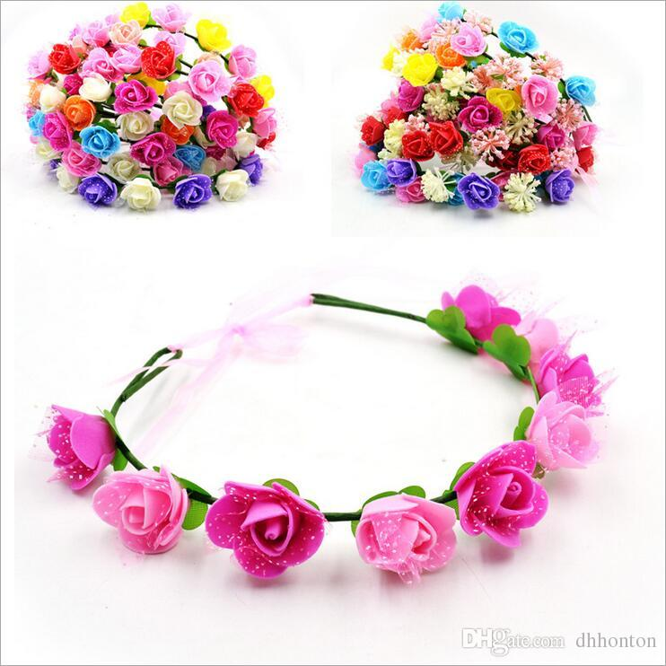 Wholesale artificial flowers Braided Leather Elastic Headwrap for Ladies hair band Assorted Colors Hair Ornaments hairband BT020