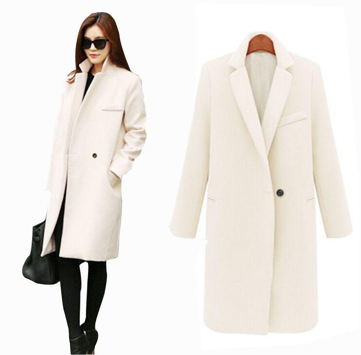 Cappotti in cashmere lungo autunno / inverno Donna 2015 moda europea e americana Slim collo a collo lungo lana giacca a vento cappotti per le donne