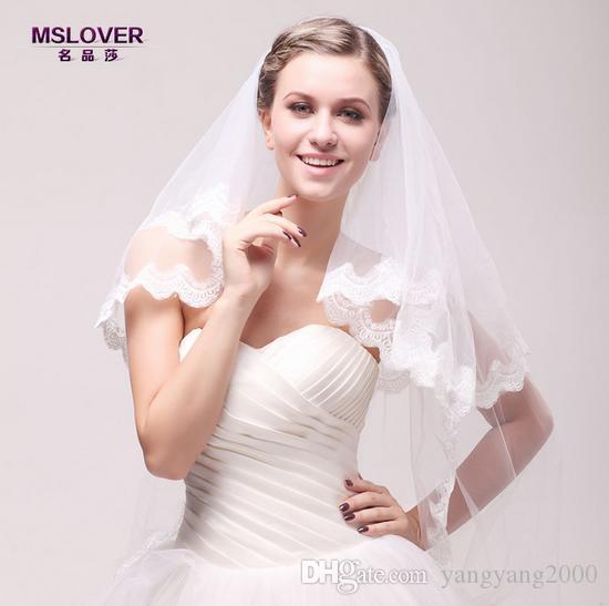 Atacado hot nupcial do casamento acessórios 110 cm camada dupla borda de renda Requintado e exaltado véu de noiva TS120345