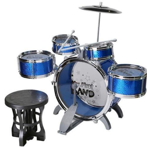 New Jazz Drum Set with Chair Music Educational Toy Instrument for Kids (10 Pcs)