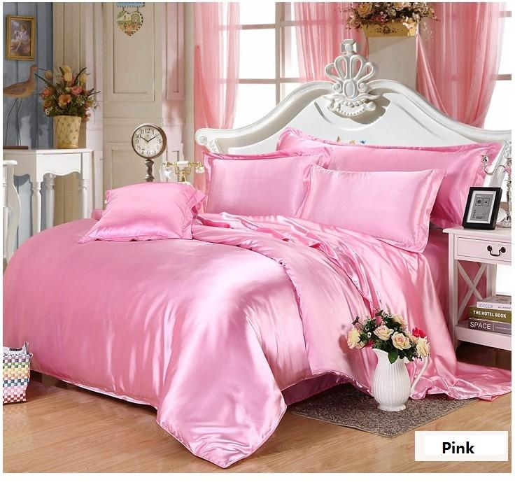 hot pink silk satin bedding set california king size queen full twin fitted bed sheet double duvet cover doona bedspreads 6pcs