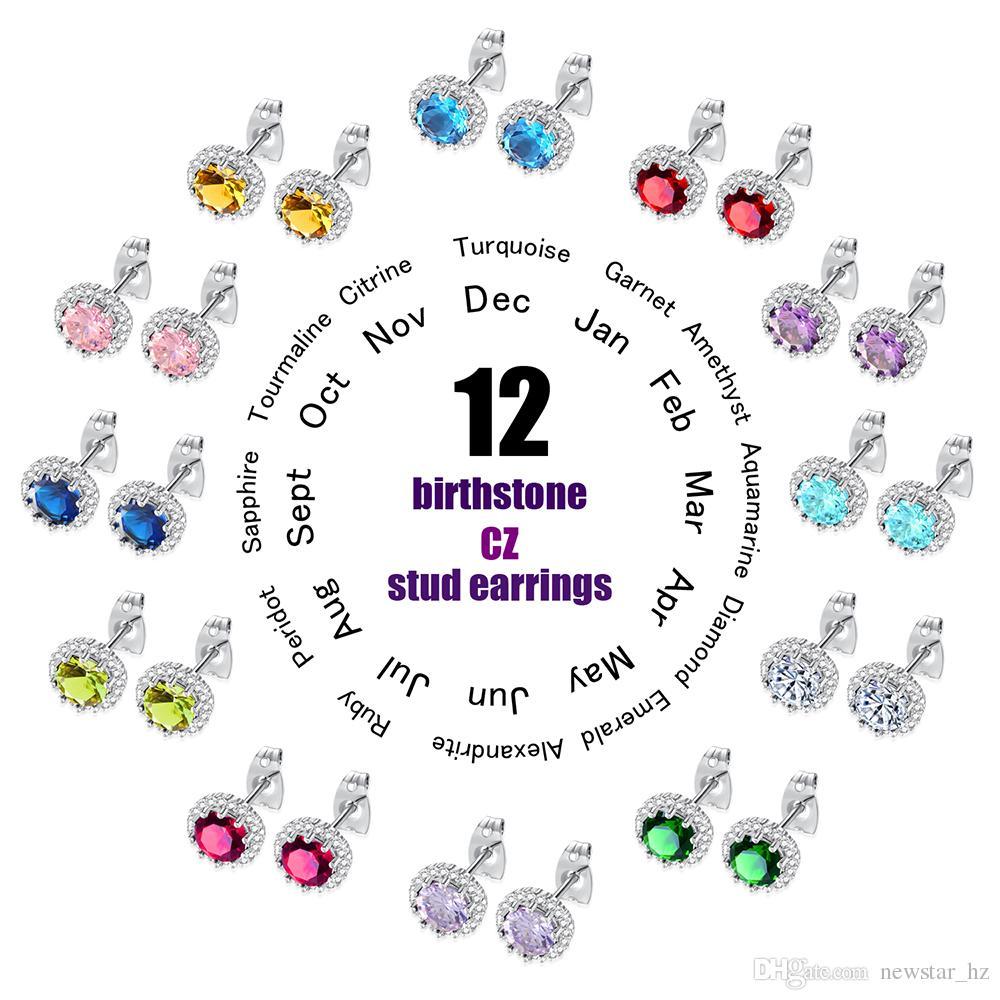 Kadınlar 12-month Doğum Günü Taşlar Zirkon Piercing Küpe Bayanlar Charm Takı 12 Birthstone CZ Saplama Küpe Romantik Hediyeler Toptan Yeni