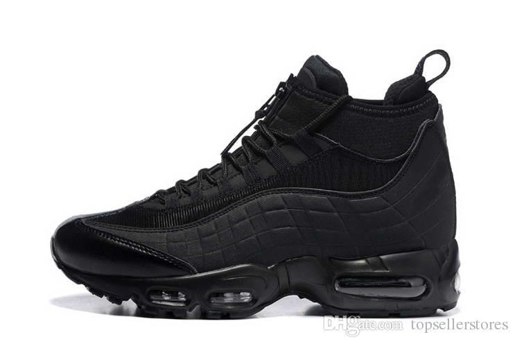 Nuevo Botas de Cojín de Moda Negro Verde Marrón de los hombres 95 Botas de tobillo Hight Top 95s Botas de trabajo impermeables Zapatos de los hombres de alta calidad