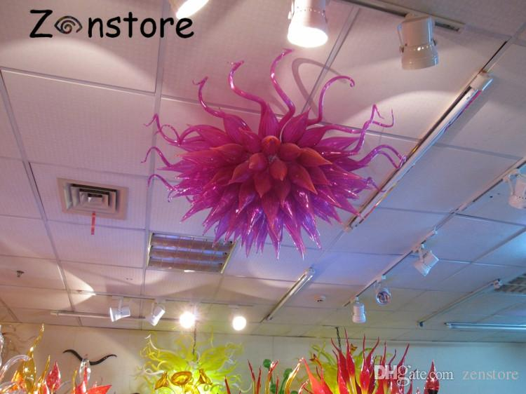 Art Glass Pink Color Lamps Hotel Decor Flush Mounted Hand Blown Glass Ceiling Chandeliers with LED lights