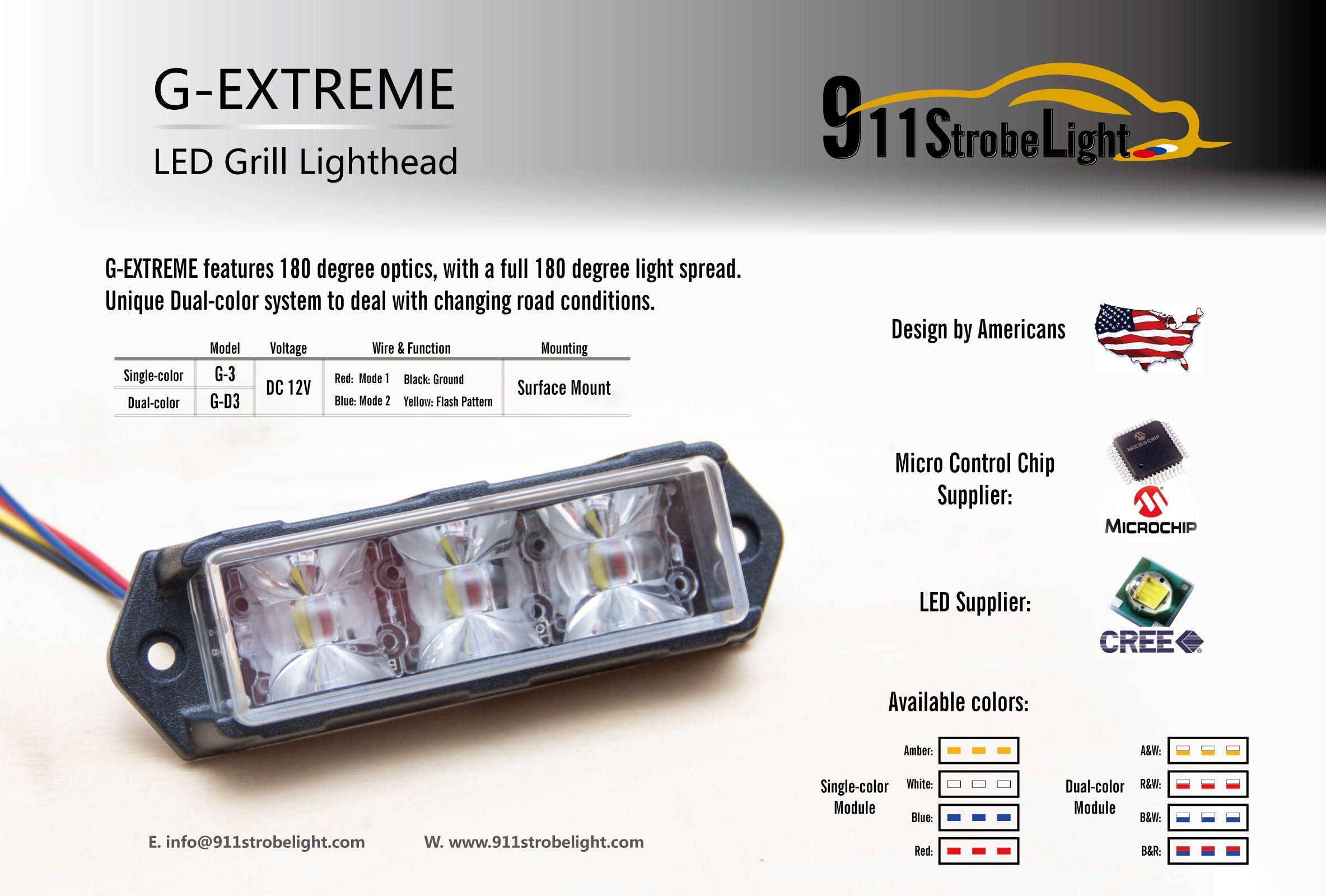 G-Extreme LED LED Strobe Light Light, LED 3W LED, LIGHTHHEAD LIGHTHHEAD LIGHTHHEAD, 12-24V SYSTEM DUAL-COLOR, Light 180 ° Widoczne ostrzeżenie.
