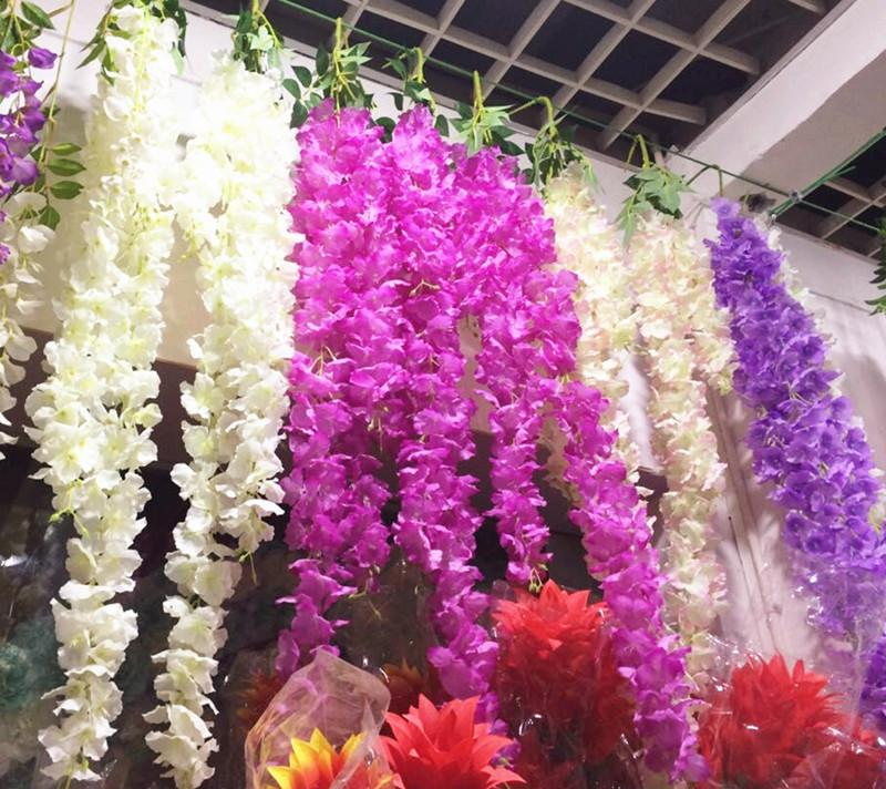 """Шелк вишня Bracketplant цветок Раттаны 95 см / 37.4"""" великолепные глицинии гортензии лозы для свадьбы искусственные декоративные цветы"""