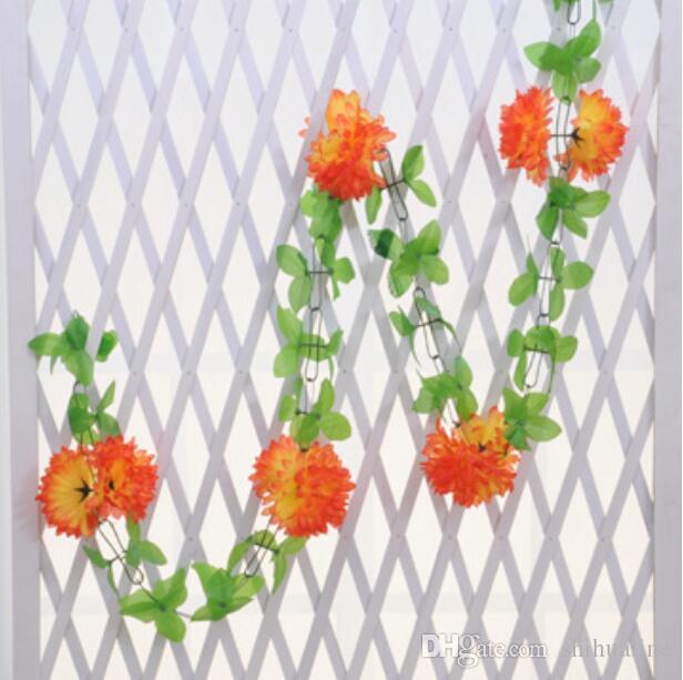 Simulation daisy chain decoration faux fleur vigne en plastique plantes vertes fleurs en soie
