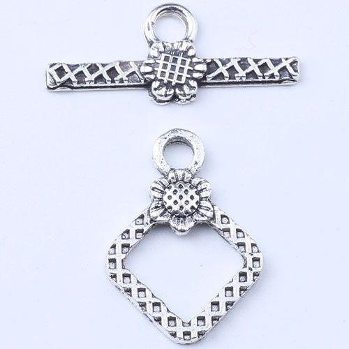 Rétro 2 pièces boucle charme argent / cuivre bricolage bijoux pendentif fit collier ou bracelets 500 pcs / lot # 1564ct