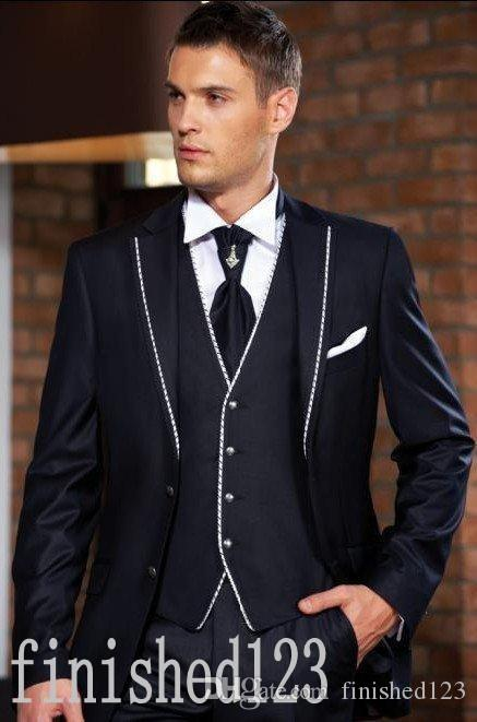 New Arrivals Two Buttons Navy Blue Groom Tuxedos Notch Lapel Groomsmen Best Man Wedding Prom Dinner Suits (Jacket+Pants+Vest+Tie) G5010