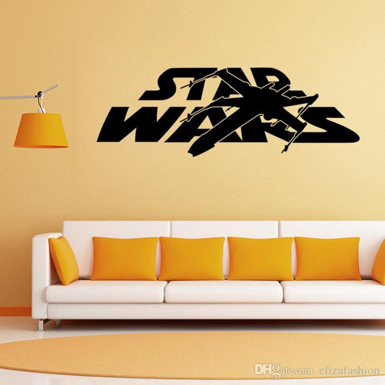 star wars etiquetas de la pared palabras black star wars logo arte mural pared del cartel