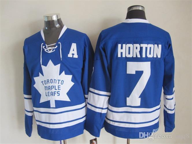 Qualidade máxima ! Os homens 1967 de Toronto folheiam as camisas do hóquei em gelo # 7 Tim Horton Vintage retro CCM autêntico costurou a ordem da mistura dos Jerseys!
