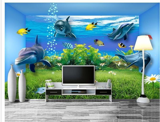 Large mural papel de parede 3d three-dimensional space dolphin world wall sticker wholesale Factory Direct FREE SHIPPING7519m