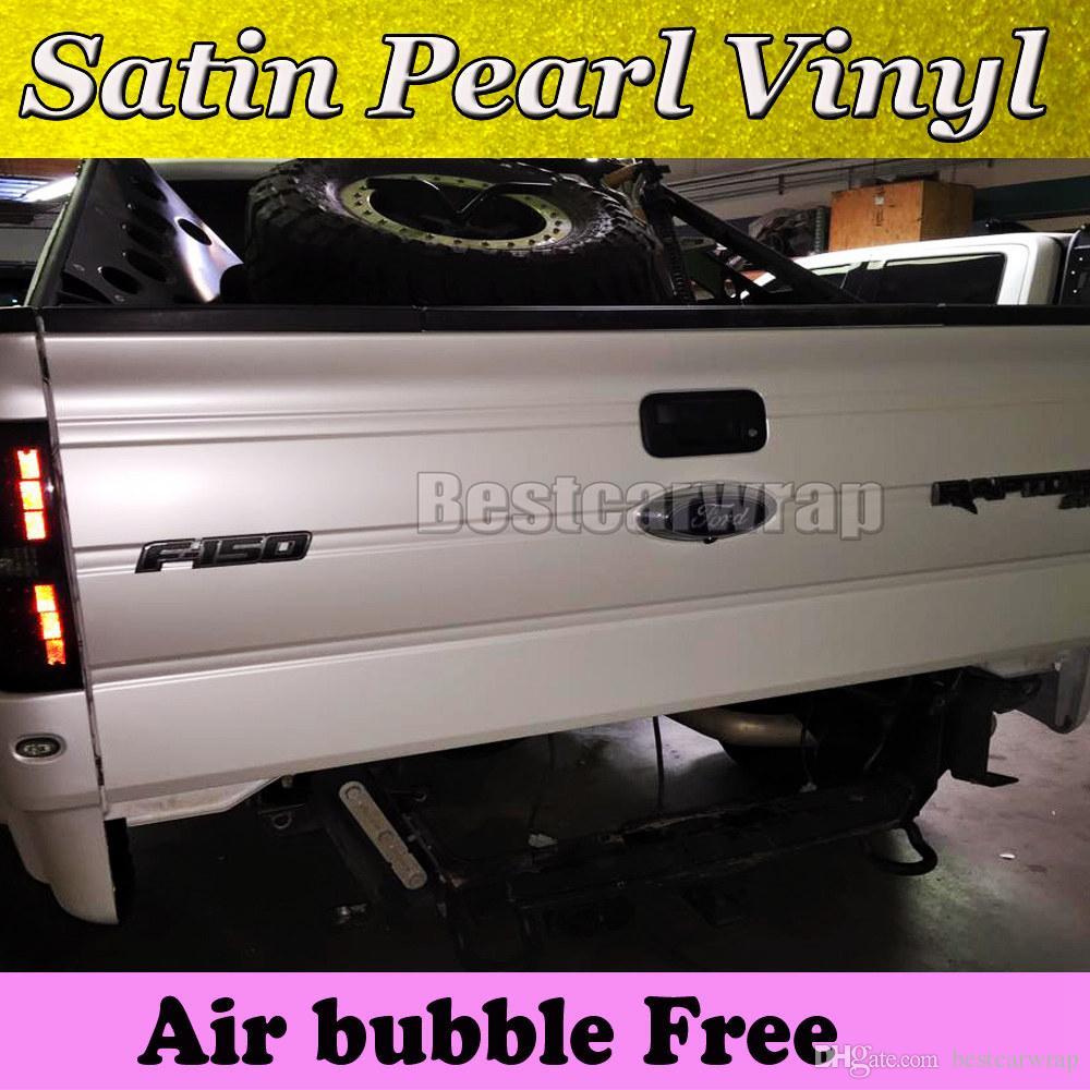Involucro in vinile bianco perlato Premium Satin per film auto avvolgente perlato Pellicola per auto avvolgente Full Vehicle coprente con air free 1.52x20m 5x67ft