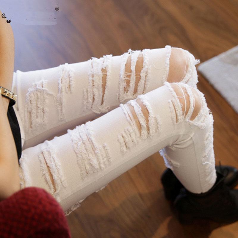 Nieuwe mode vrouwen uitgesneden denimbroek Distressed Pencil Pants Dames Punk Patch Beget Denim Pants