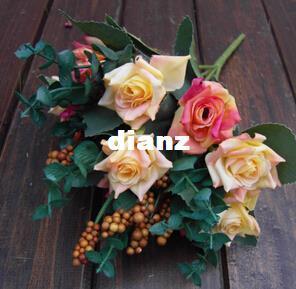 Мода горячая элегантный масляной живописи стиль искусственные розы шелковые цветы 10 цветок глава цветочный свадебный сад декор DIY украшения