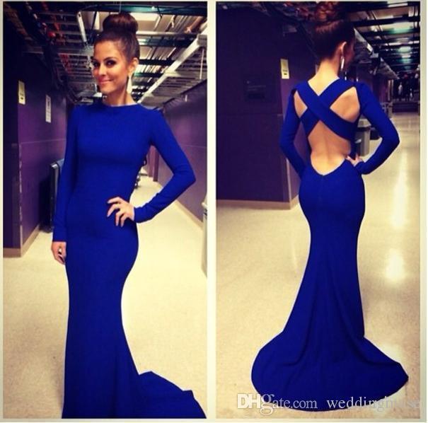 Robes de soirée bleu royal avec manches longues Croix Backless sirène élégante robes de soirée en satin Robes de soirée sexy
