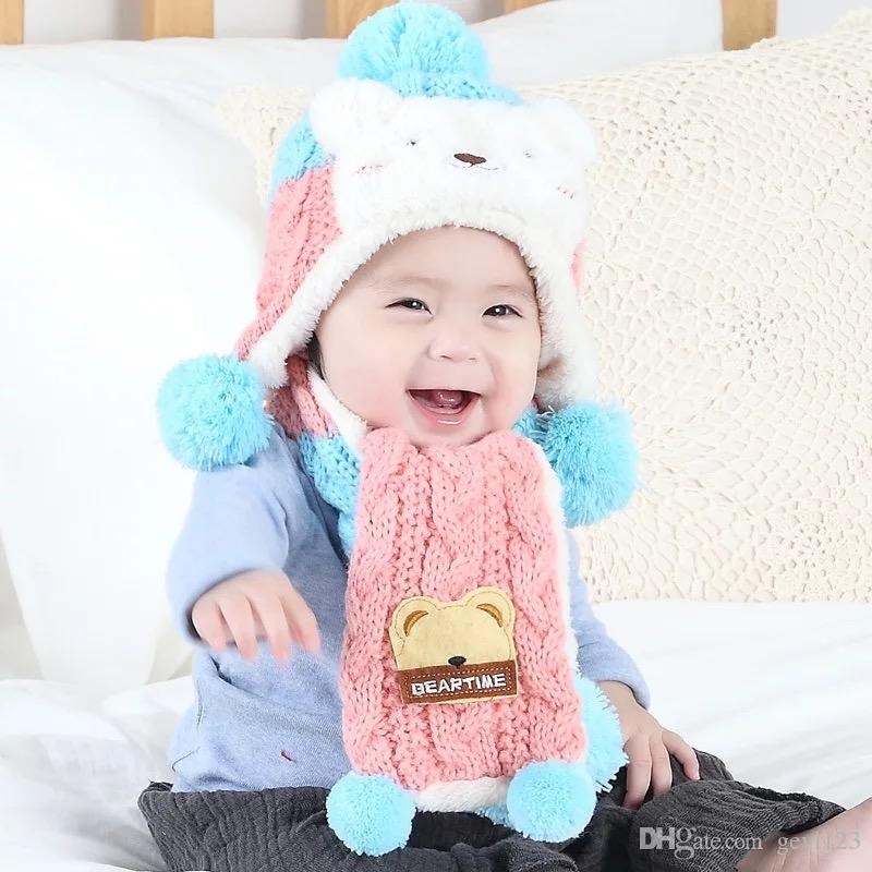 Wool Baby Hat With Winter Hat Scarf Earflap Hood Mabe By Wool For 1-3 Year Old Baby