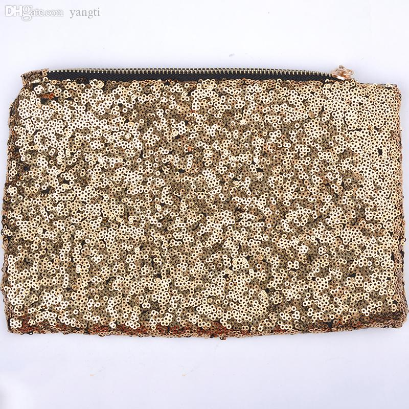 Wholesale-Popular Fashion New Women Evening Party Handbag Clutches  Bags Glitter Sequins Dazzling Cosmetic Bag Pouch WQB1057W*57